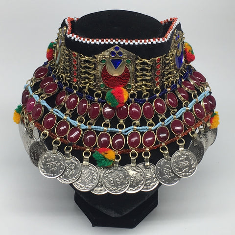"11.5""x5.75""Kuchi Choker Multi-Color Tribal Gypsy Bohemian Statement Coins,CK556"