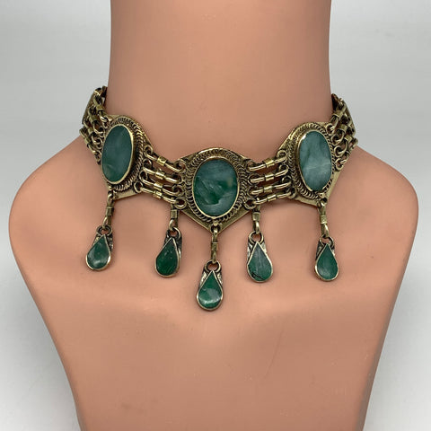 Choker Necklace Afghan Turkmen Tribal 5 Cab Stone Green Jade Necklace Handmade C