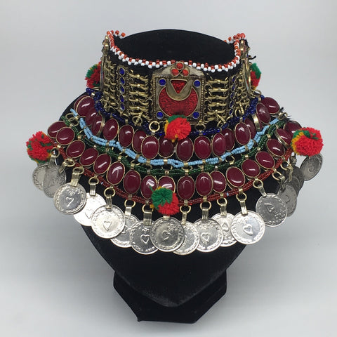 "11.5""x5.75""Kuchi Choker Multi-Color Tribal Gypsy Bohemian Statement Coins,CK557"