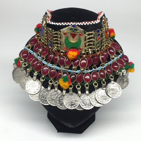 "11.5""x5.75""Kuchi Choker Multi-Color Tribal Gypsy Bohemian Statement Coins,CK558"