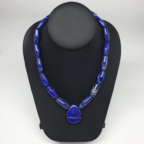61.3g, 19mm-32mm Natural Lapis Lazuli Tube Shaped Beads Strand,17 Beads,LPB243