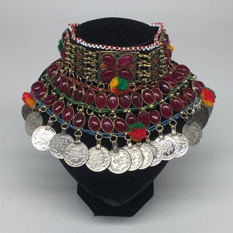 "11.5""x5.75""Kuchi Choker Multi-Color Tribal Gypsy Bohemian Statement Coins,CK561"