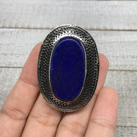 Antique Afghan Turkmen Tribal Oval Lapis Lazuli Kuchi Ring Boho Statement,TR71