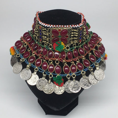 "11.5""x5.75""Kuchi Choker Multi-Color Tribal Gypsy Bohemian Statement Coins,CK564"