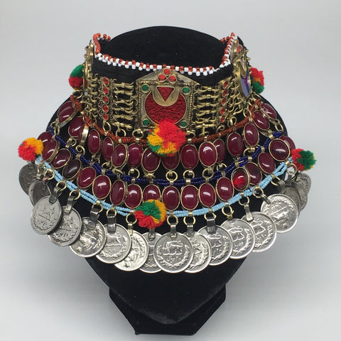 "11.5""x5.75""Kuchi Choker Multi-Color Tribal Gypsy Bohemian Statement Coins,CK565"
