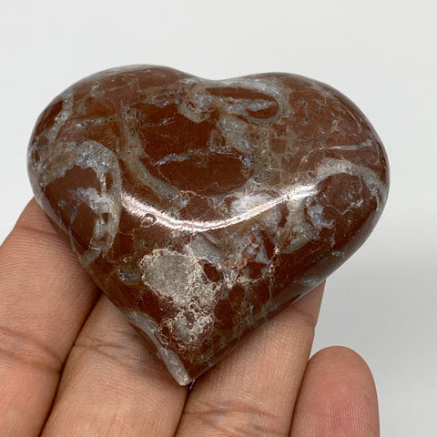 "66.1g, 2"" x 2.2""x 0.7"", Natural Untreated Red Shell Fossils Half Heart @Morocco,"