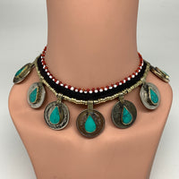 Coin Choker Necklace Afghan Turkmen Tribal Teardrop Green Turquoise Inlay Handma