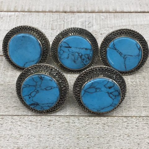 "1.4"" Turkmen Ring Afghan Tribal Round Synthetic Blue Turquoise,7,8,8.5,9.5,TR118"