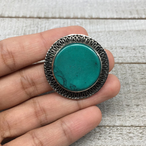 "1.4""Turkmen Ring Afghan Tribal Round Synthetic Green Turquoise,7.5,8,8.5,9,TR120"