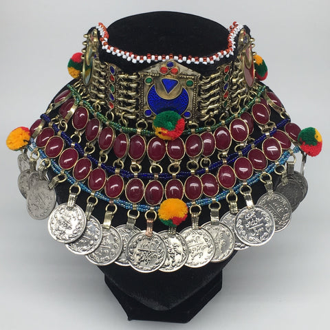 "11.5""x5.75""Kuchi Choker Multi-Color Tribal Gypsy Bohemian Statement Coins,CK570"
