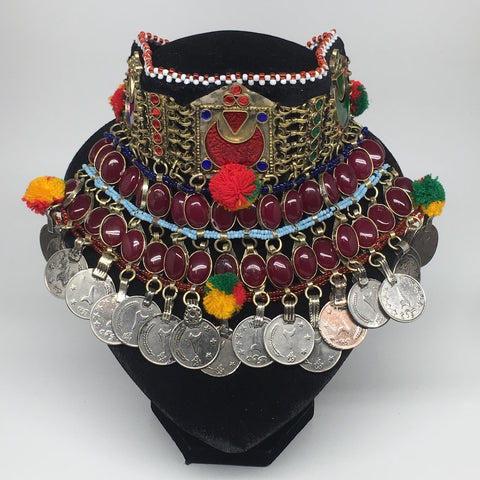 "11.5""x5.75""Kuchi Choker Multi-Color Tribal Gypsy Bohemian Statement Coins,CK571"