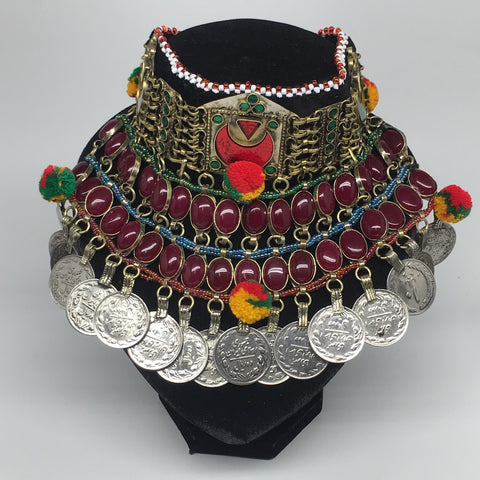 "11.5""x5.75""Kuchi Choker Multi-Color Tribal Gypsy Bohemian Statement Coins,CK572"