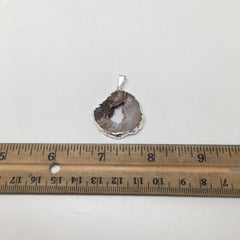 "Agate Druzy Slice Geode Pendant Silver Plated from Brazil,Free 18"" Chain, Bp778 - watangem.com"