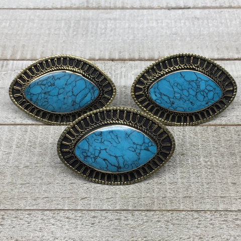 "2.3""x1.5""x0.3"" Turkmen Ring Afghan Marquise Synthetic Turquoise, 7.5,8, TR124"