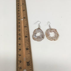 "9.1g, 2"" Agate Druzy Slice Geode Silver Plated Earrings from Brazil, BE188"