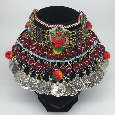 "11.5""x5.75""Kuchi Choker Multi-Color Tribal Gypsy Bohemian Statement Coins,CK574"