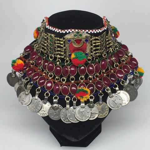 "11.5""x5.75""Kuchi Choker Multi-Color Tribal Gypsy Bohemian Statement Coins,CK575"
