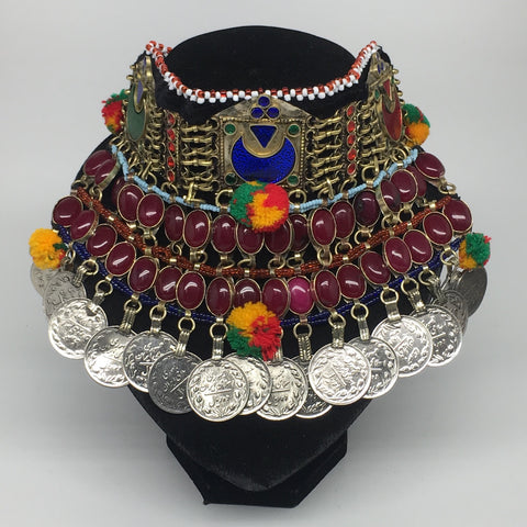 "11.5""x5.75""Kuchi Choker Multi-Color Tribal Gypsy Bohemian Statement Coins,CK576"