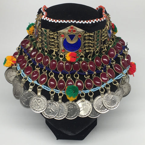 "11.5""x5.75""Kuchi Choker Multi-Color Tribal Gypsy Bohemian Statement Coins,CK577"