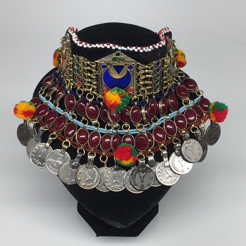 "11.5""x5.75""Kuchi Choker Multi-Color Tribal Gypsy Bohemian Statement Coins,CK578"