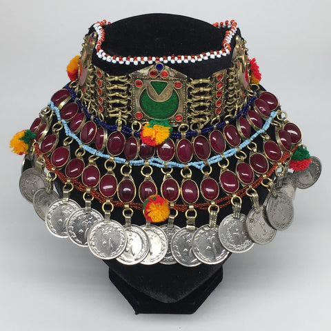 "11.5""x5.75""Kuchi Choker Multi-Color Tribal Gypsy Bohemian Statement Coins,CK580"
