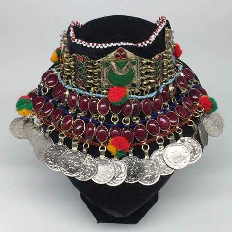 "11.5""x5.75""Kuchi Choker Multi-Color Tribal Gypsy Bohemian Statement Coins,CK581"