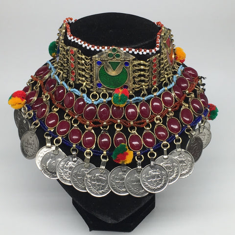 "11.5""x5.75""Kuchi Choker Multi-Color Tribal Gypsy Bohemian Statement Coins,CK582"