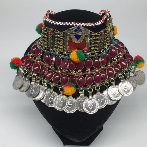 "11.5""x5.75""Kuchi Choker Multi-Color Tribal Gypsy Bohemian Statement Coins,CK583"
