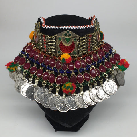 "11.5""x5.75""Kuchi Choker Multi-Color Tribal Gypsy Bohemian Statement Coins,CK585"