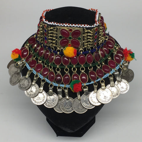 "11.5""x5.75""Kuchi Choker Multi-Color Tribal Gypsy Bohemian Statement Coins,CK586"
