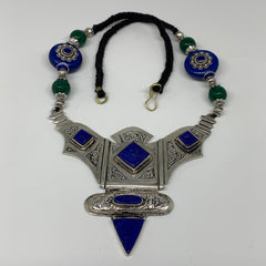 Turkmen Necklace Antique Afghan Tribal Blue Lapis Lazuli ATS V-Neck, Necklace T4