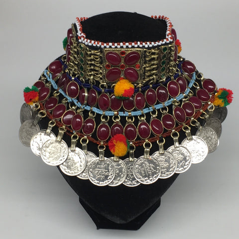 "11.5""x5.75""Kuchi Choker Multi-Color Tribal Gypsy Bohemian Statement Coins,CK587"