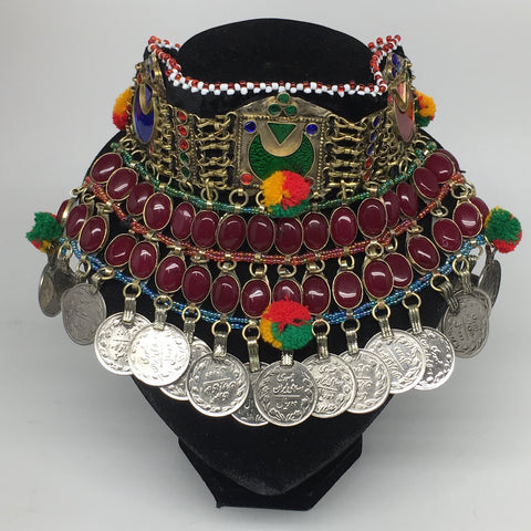 "11.5""x5.75""Kuchi Choker Multi-Color Tribal Gypsy Bohemian Statement Coins,CK588"