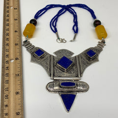 Turkmen Necklace Antique Afghan Tribal Blue Lapis Lazuli V-Neck, Beaded Necklace