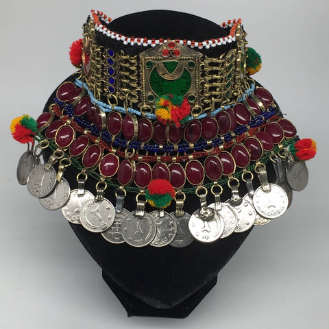 "11.5""x5.75""Kuchi Choker Multi-Color Tribal Gypsy Bohemian Statement Coins,CK590"