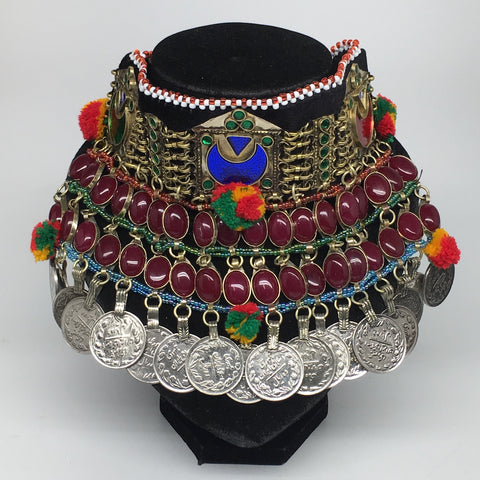 "11.5""x5.75""Kuchi Choker Multi-Color Tribal Gypsy Bohemian Statement Coins,CK591"