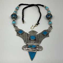 Turkmen Necklace Antique Afghan Tribal Blue Turquoise Inlay V-Neck, Necklace T50
