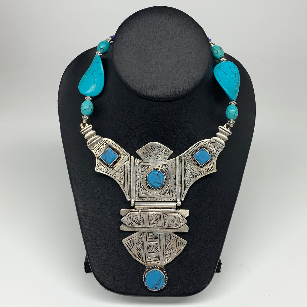 Turkmen Necklace Antique Afghan Tribal Blue Turquoise Inlay V-Neck, Necklace T53