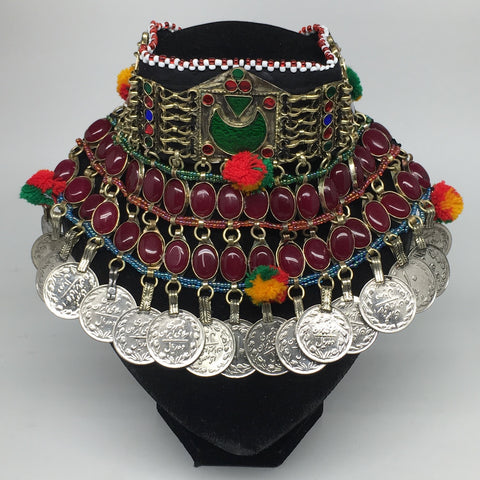 "11.5""x5.75""Kuchi Choker Multi-Color Tribal Gypsy Bohemian Statement Coins,CK594"
