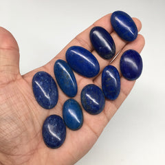 354cts,10 pcs Lot,Natural Oval Shape Lapis Lazuli Cabochon @Afghanistan,Lot94