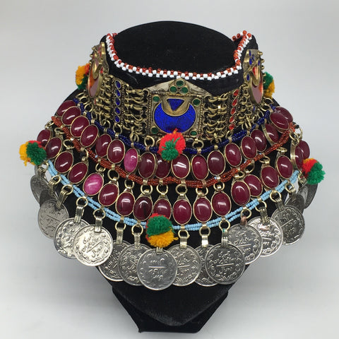 "11.5""x5.75""Kuchi Choker Multi-Color Tribal Gypsy Bohemian Statement Coins,CK595"