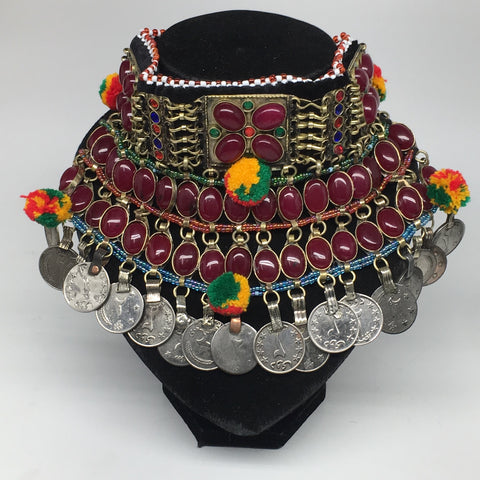 "11.5""x5.75""Kuchi Choker Multi-Color Tribal Gypsy Bohemian Statement Coins,CK596"