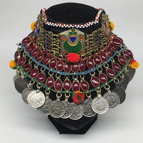 "11.5""x5.75""Kuchi Choker Multi-Color Tribal Gypsy Bohemian Statement Coins,CK598"