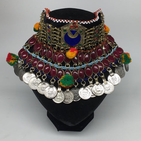 "11.5""x5.75""Kuchi Choker Multi-Color Tribal Gypsy Bohemian Statement Coins,CK599"