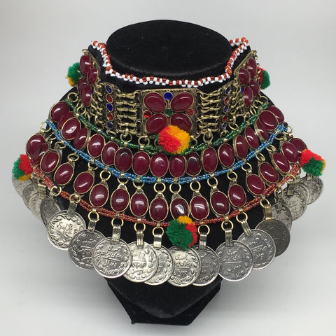 "11.5""x5.75""Kuchi Choker Multi-Color Tribal Gypsy Bohemian Statement Coins,CK601"