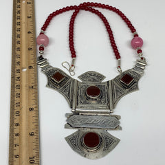 Turkmen Necklace Antique Afghan Tribal Red Carnelian Beaded V-Neck, Necklace T61