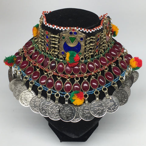 "11.5""x5.75""Kuchi Choker Multi-Color Tribal Gypsy Bohemian Statement Coins,CK602"
