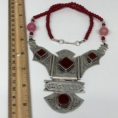 Turkmen Necklace Antique Afghan Tribal Red Carnelian Beaded V-Neck, Necklace T63