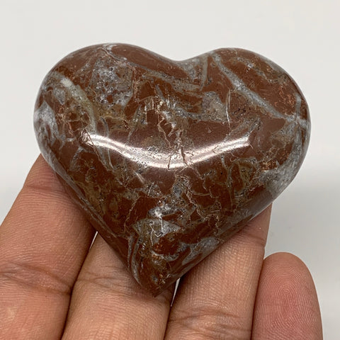 "61.4g, 2"" x 2.2""x 0.6"", Natural Untreated Red Shell Fossils Half Heart @Morocco,"