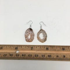 "6.7g, 1.8"" Agate Druzy Slice Geode Silver Plated Earrings from Brazil, BE209"